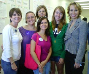 PPAA volunteers, Cheryl Cage, and Nancy Young Wright with Rep. Gabrielle Giffords during 2010 campaign season
