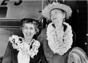 Margaret Sanger in 1959, with friend Grace Sternberg, returning to the United States after a trip to New Delhi, Sanger's final overseas trip.